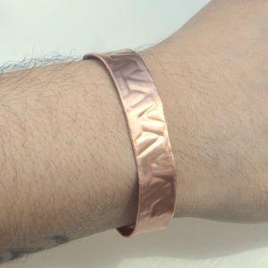 Solid Copper Slim Mens Embossed Cuff Bracelet Boho